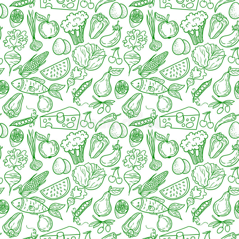 Download Healthy food pattern stock vector. Image of healthy, green - 50457325