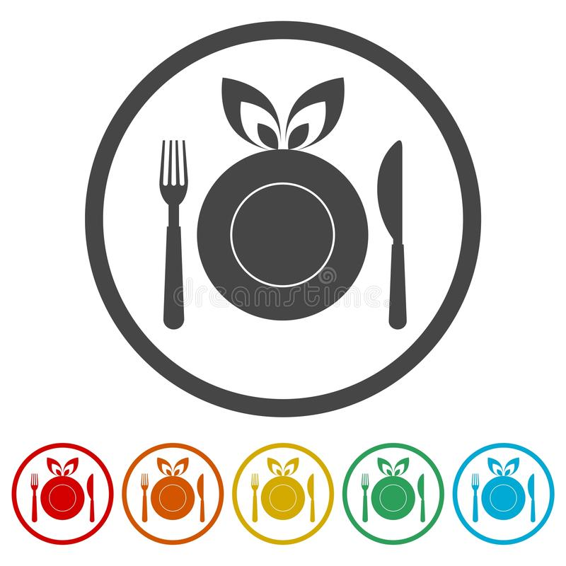 Healthy Food Plate, Food dinning kitchen menu restaurant icon, 6 Colors Included royalty free illustration