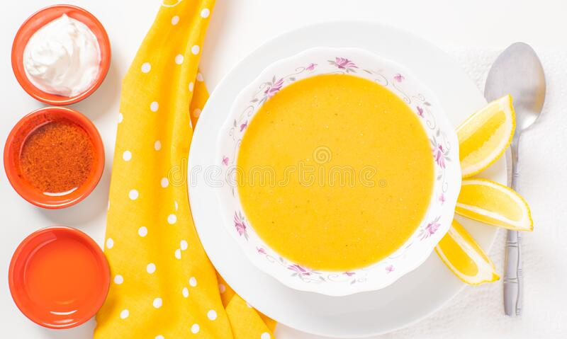 Healthy food. Plate with lentil soup food. Vegetarian pumpkin soup stock photo