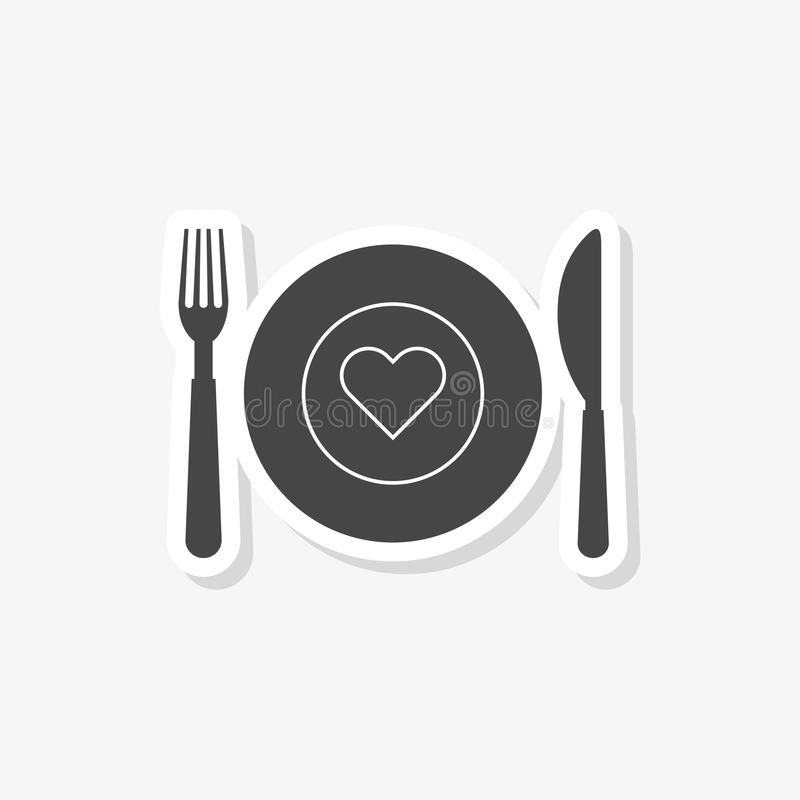 Healthy Food Plate sticker, Food dinning kitchen menu restaurant icon, simple vector icon vector illustration