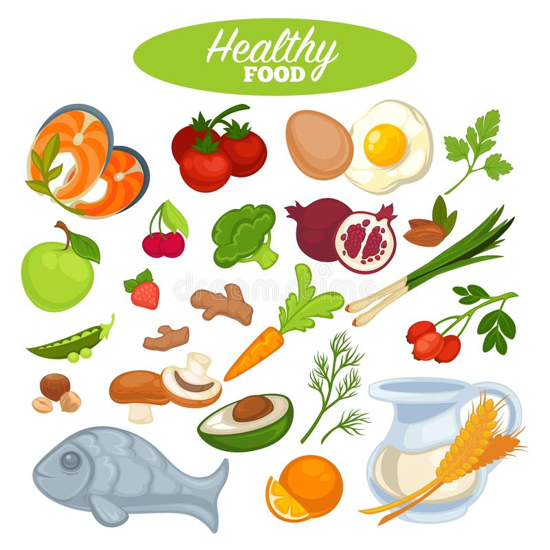 Healthy food poster or natural organic vegetables, fruits or fish products stock illustration
