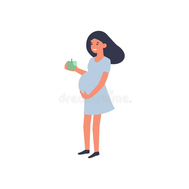 Healthy food and pregnancy concept. Pregnant woman standing with apple. Nutrition and diet during pregnancy. stock illustration