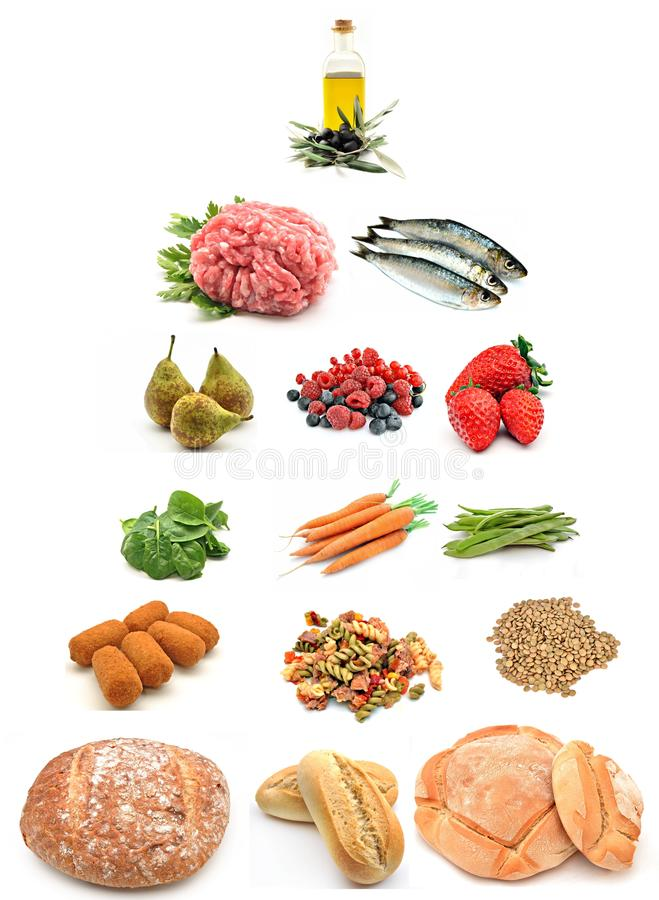 Healthy food pyramid. Surrounded by white background stock images
