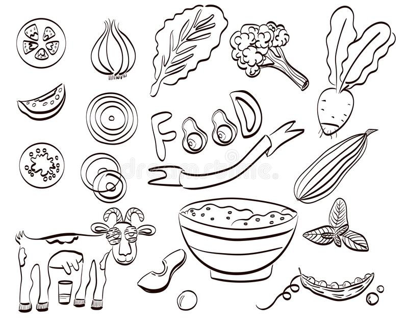 Healthy food set of icon. Vector illustration royalty free illustration