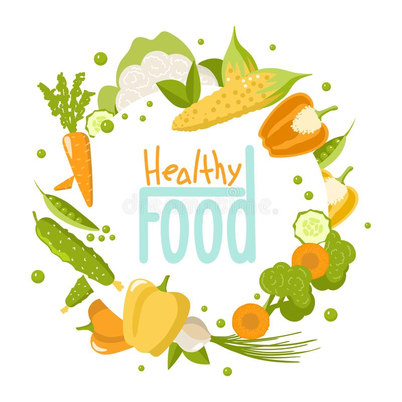 Healthy Food Set on white Background vector illustration