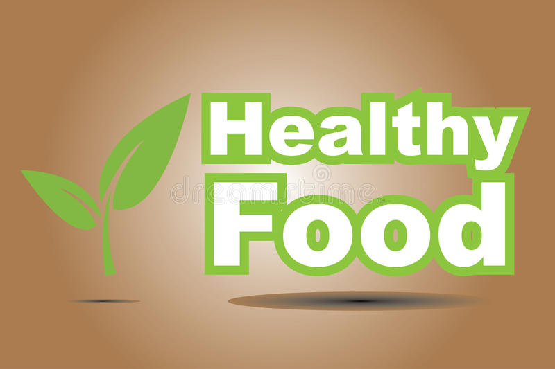 Healthy food sign. Illustrated healthy food sign with green leaves beside vector illustration