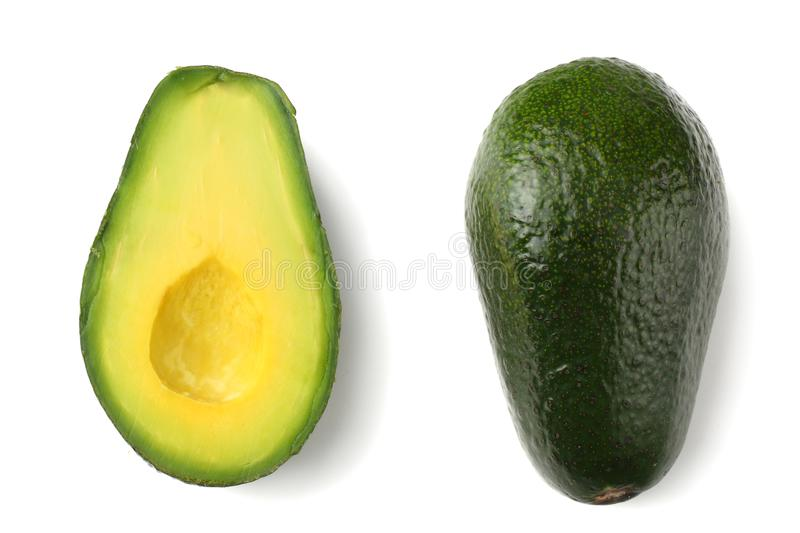 Healthy food. sliced avocado isolated on white background. top view stock image