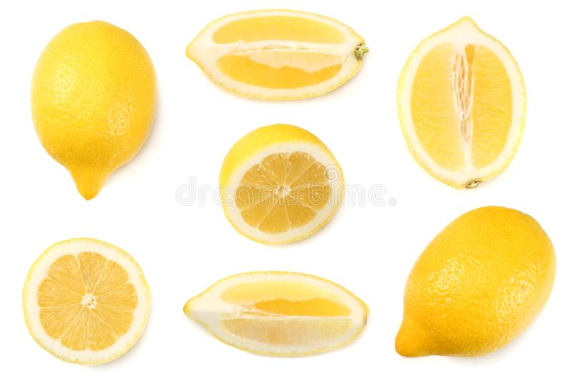 Healthy food. sliced lemon isolated on white background top view stock photo