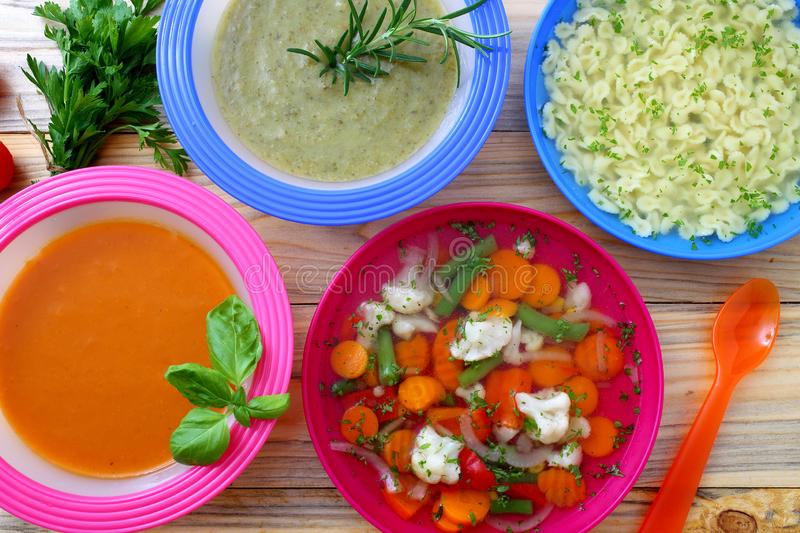 Healthy Food Soup Cream Vegetables Soup Kitchen Table. Background royalty free stock photo