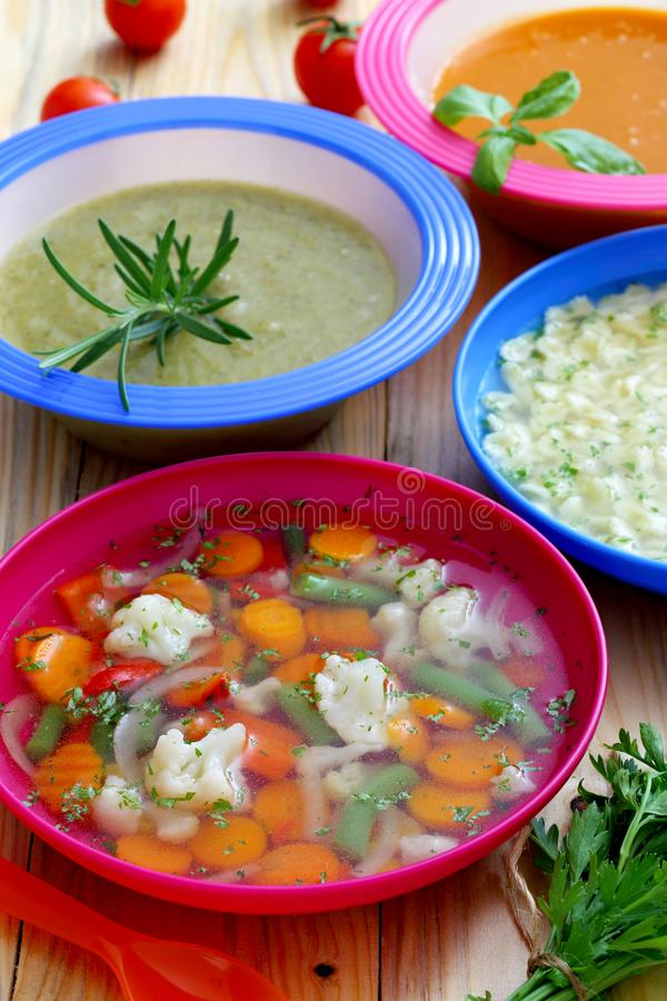 Healthy Food Soup Cream Vegetables Soup Kitchen Table. Background stock photos