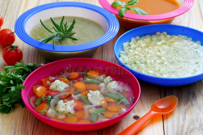 Healthy Food Soup Cream Vegetables Soup Kitchen Table. Background royalty free stock photos