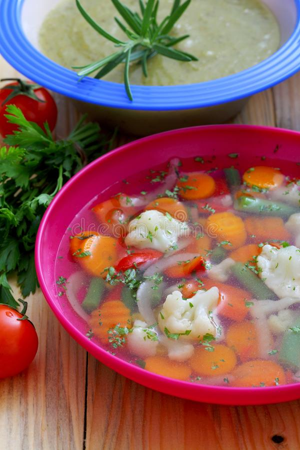 Healthy Food Soup Cream Vegetables Soup Kitchen Table. Background stock photography