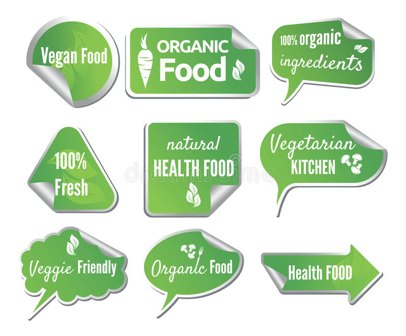 Healthy Food stickers set stock illustration