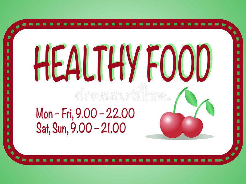 Healthy food store sign. Vector illustration of two red cherries in the square frame with text. Pair of berries stock illustration