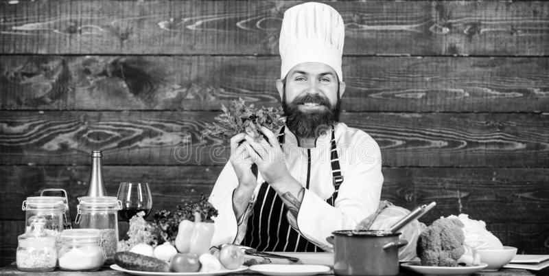 Healthy food for success. Happy bearded man. chef recipe. Cuisine culinary. Vitamin. Healthy food cooking. Mature royalty free stock images