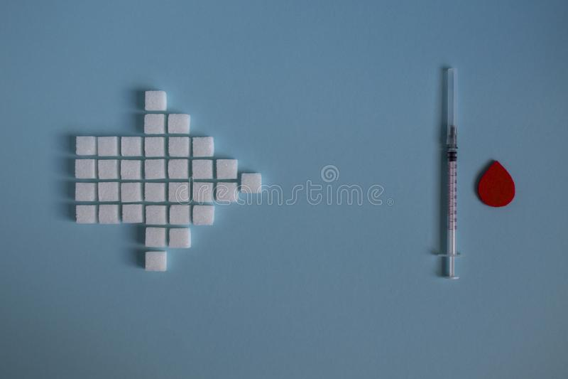 Healthy food, sugar and diabetes stock images
