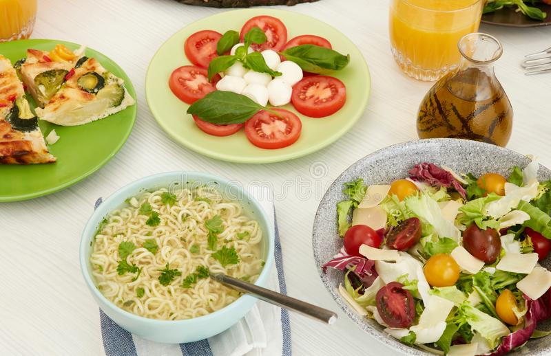 Healthy food on table stock photography