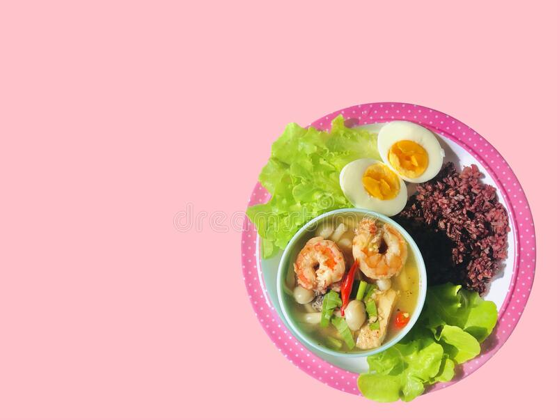 Healthy food Thai shrimp spicy sour soup with riceberry, fresh vegetable and boiled egg. Spicy  ingredient with chili cooking. Healthy food Thai shrimp spicy stock images