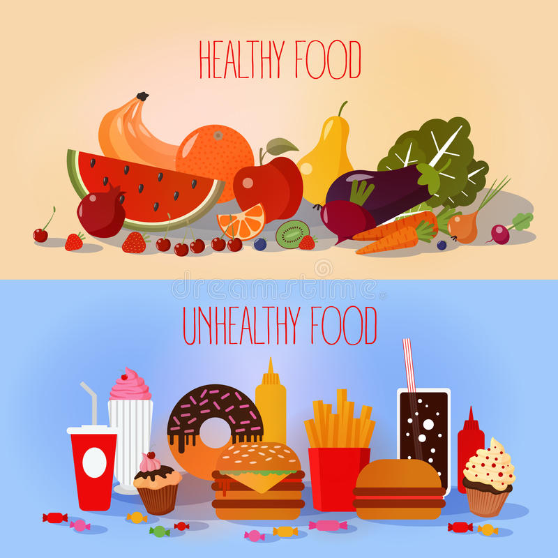 Healthy Food and Unhealthy Fast Food royalty free illustration