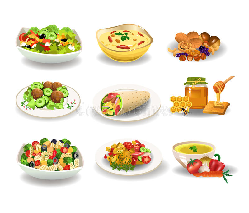 Healthy food. Vector illustration of healthy tasty food like salads, honey and nuts