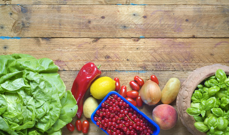 Healthy food. Vegetables and fruit, free copy space royalty free stock images