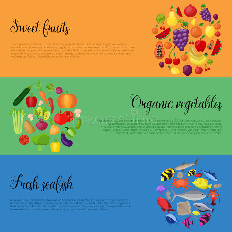 Healthy food with vegetables and fruits banners. Vector illustration stock illustration
