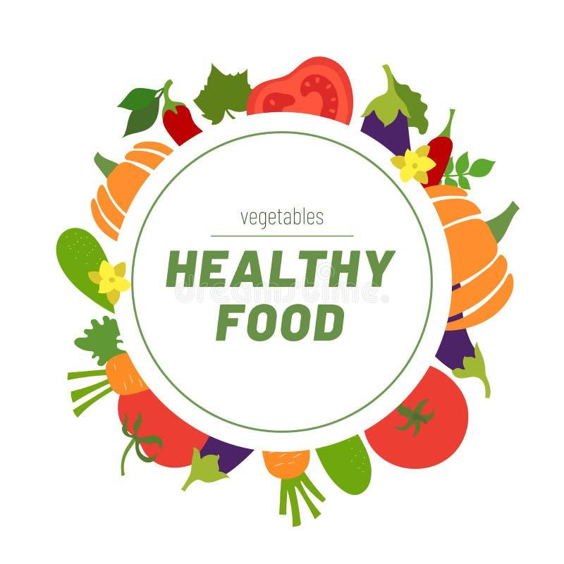 Healthy food. Vegetables sketch menu. Round Frame. Color circle. Hand drawn doodle vector. Design template. Organic market. Fresh royalty free illustration