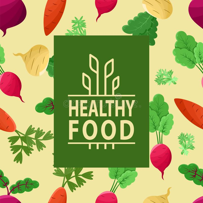 Healthy Food, Wheat Vegetables, Carrots Beetroots. Healthy food vector, vegetables on background of pattern made of veggies, carrots and beetroots, radish and royalty free illustration