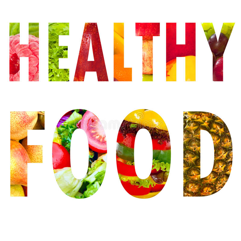 Healthy food word text in capital letters on white stock images