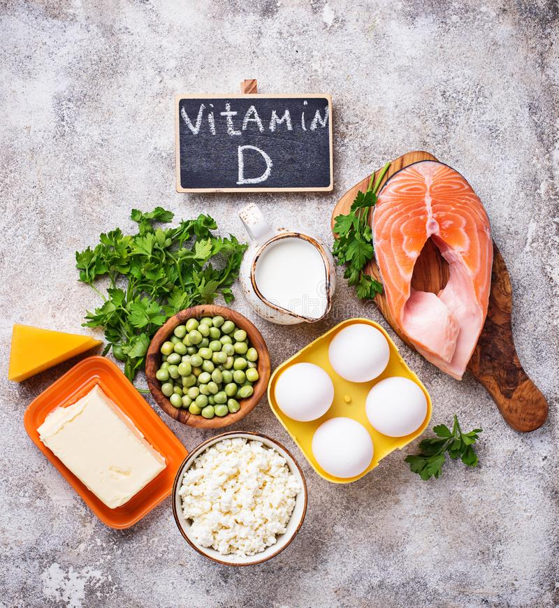 Healthy foods containing vitamin D royalty free stock photo
