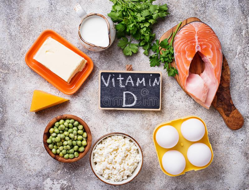 Healthy foods containing vitamin D royalty free stock photos