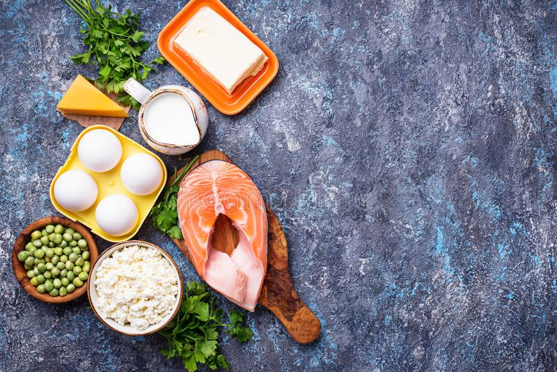 Healthy foods containing vitamin D stock image