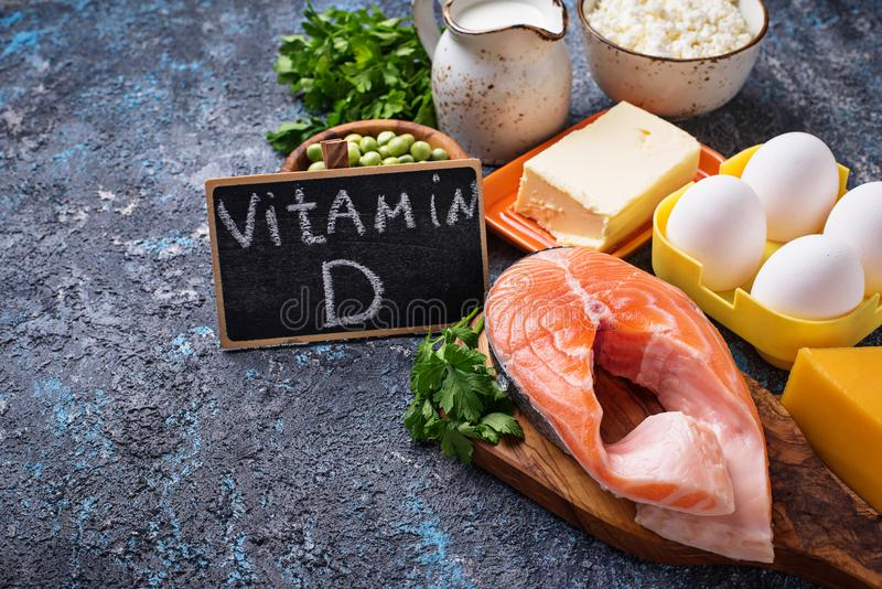 Healthy foods containing vitamin D stock photography