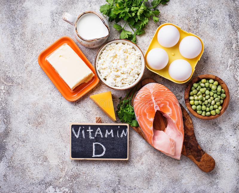 Healthy foods containing vitamin D royalty free stock image