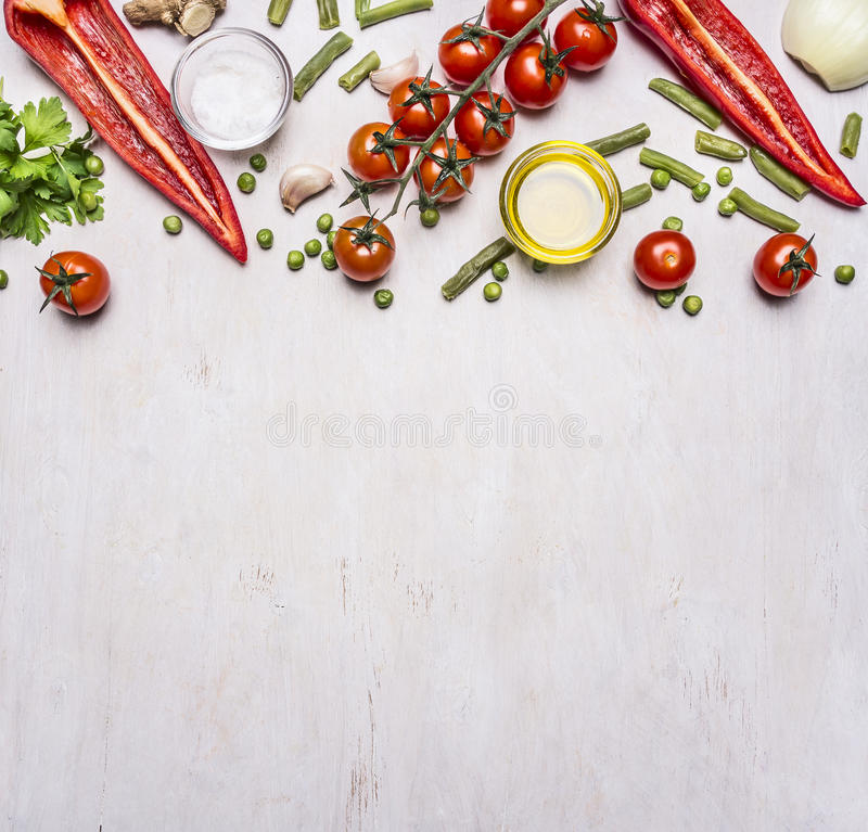 Download Healthy Foods, Cooking And Vegetarian Concept Summer Vegetables Border ,place For Text Wooden Rustic Background Top View Stock Photo - Image: 69421815