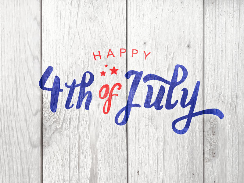 Happy 4th of July Typography Over Whitewashed Wood Background royalty free illustration