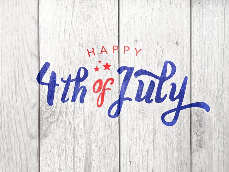 Happy 4th of July Typography Over Whitewashed Wood Background. Horizontal royalty free illustration