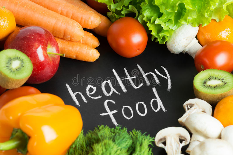 Healthy fresh food. Background. Collection of fruits and vegetables royalty free stock photo