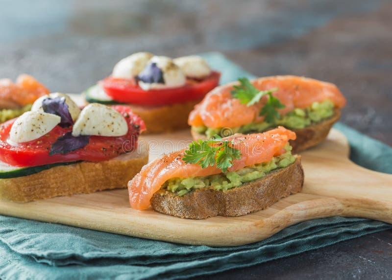 Healthy fresh food bruschetta royalty free stock photos
