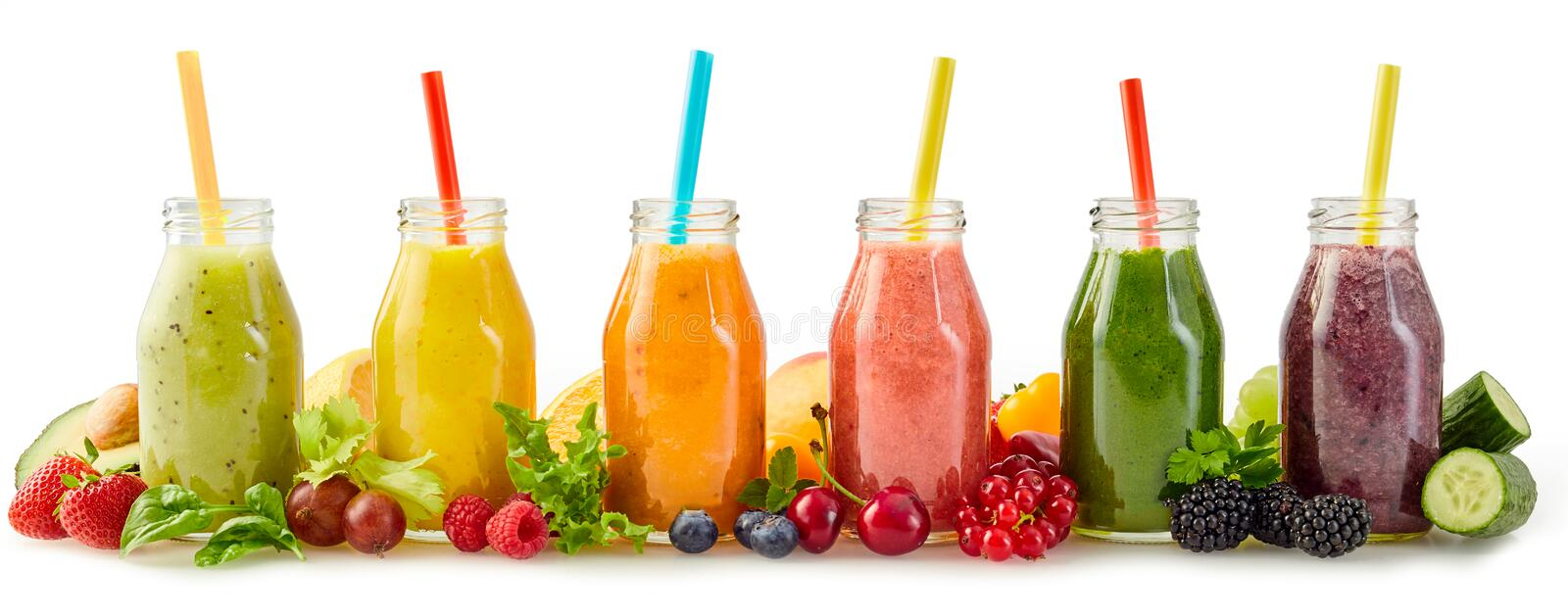Healthy fresh fruit smoothies with ingredients royalty free stock images