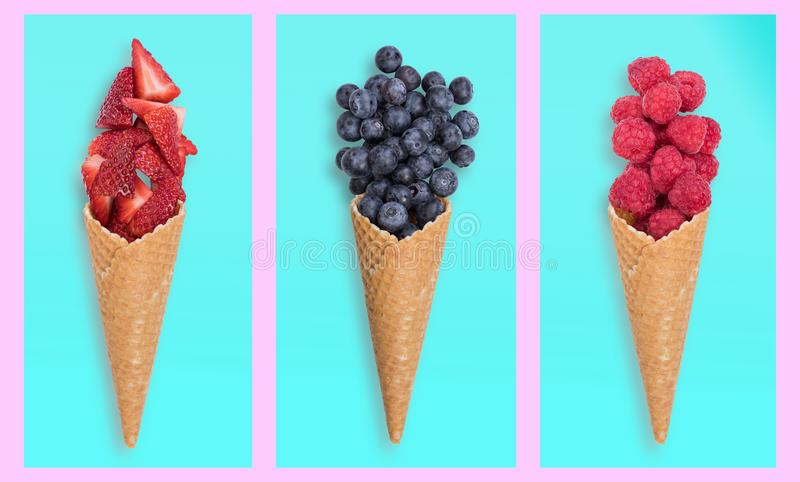 Healthy fresh fruits ice creams royalty free stock photography