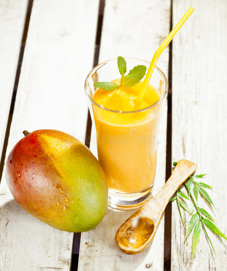 Healthy fresh mango smoothie stock photo