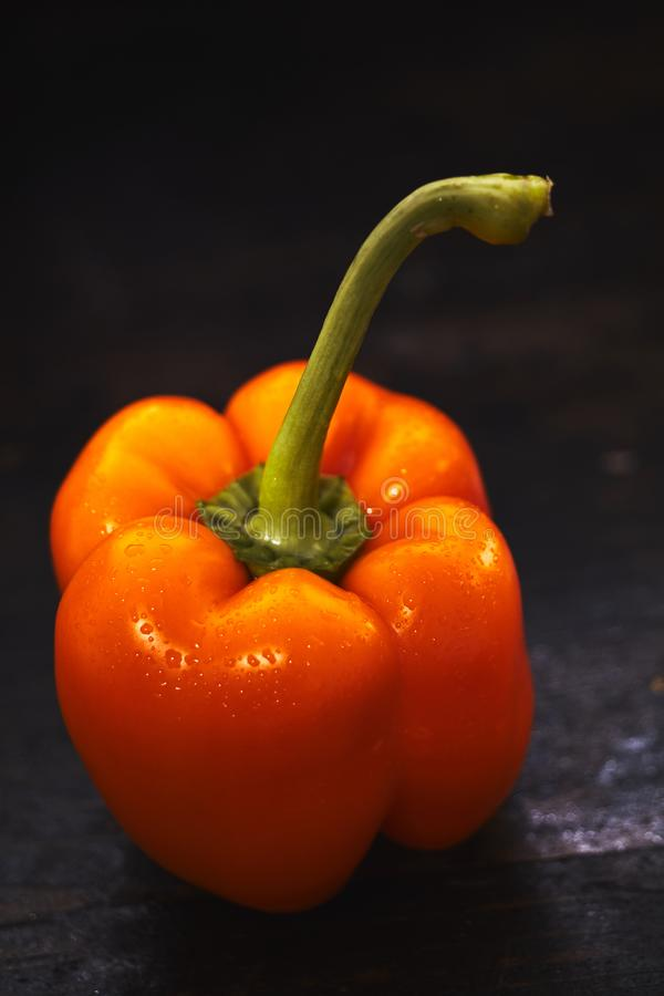 Healthy fresh raw orange sweet pepper with stalk stock image