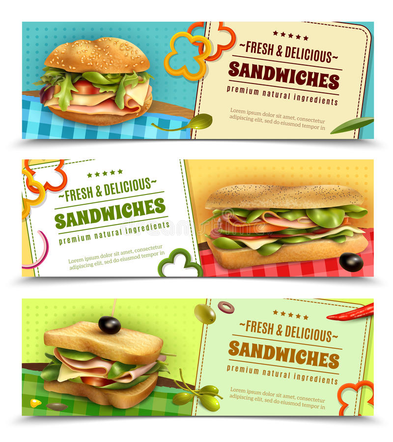 Free Healthy Fresh Sandwiches Advertisement Banners Set Royalty Free Stock Photos - 91446378