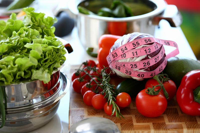 Healthy Fresh Vegetables Assortment Measuring royalty free stock photos