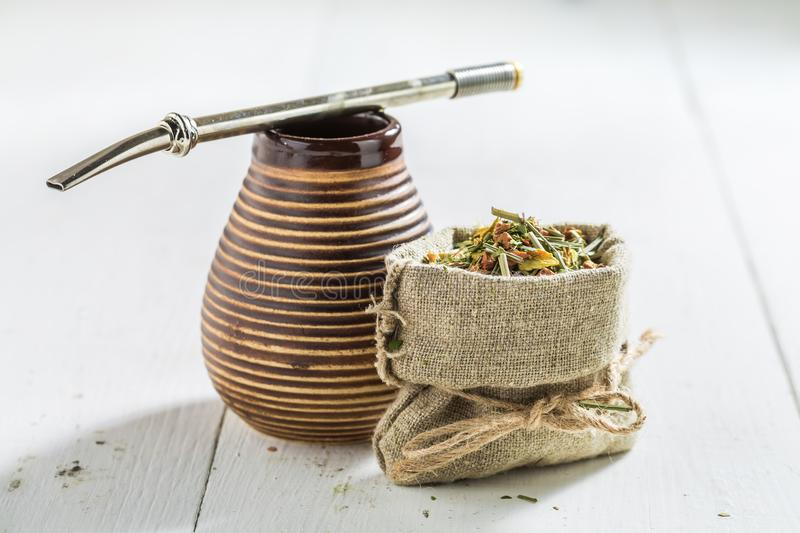 Healthy and fresh yerba mate made of fresh dried leaves royalty free stock photos