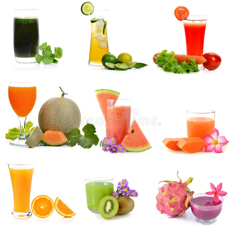 Healthy fruit , vegetable juices isolate on white background.  stock photo