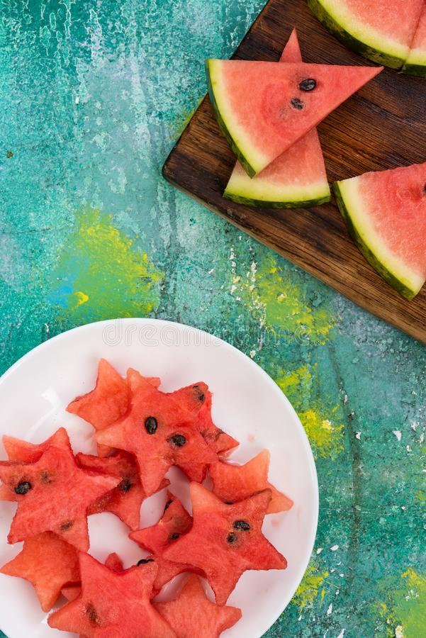 Healthy fruits food for kids garden party stock photo