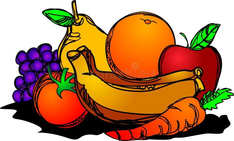 Healthy fruits pile brush stroke drawing stock illustration