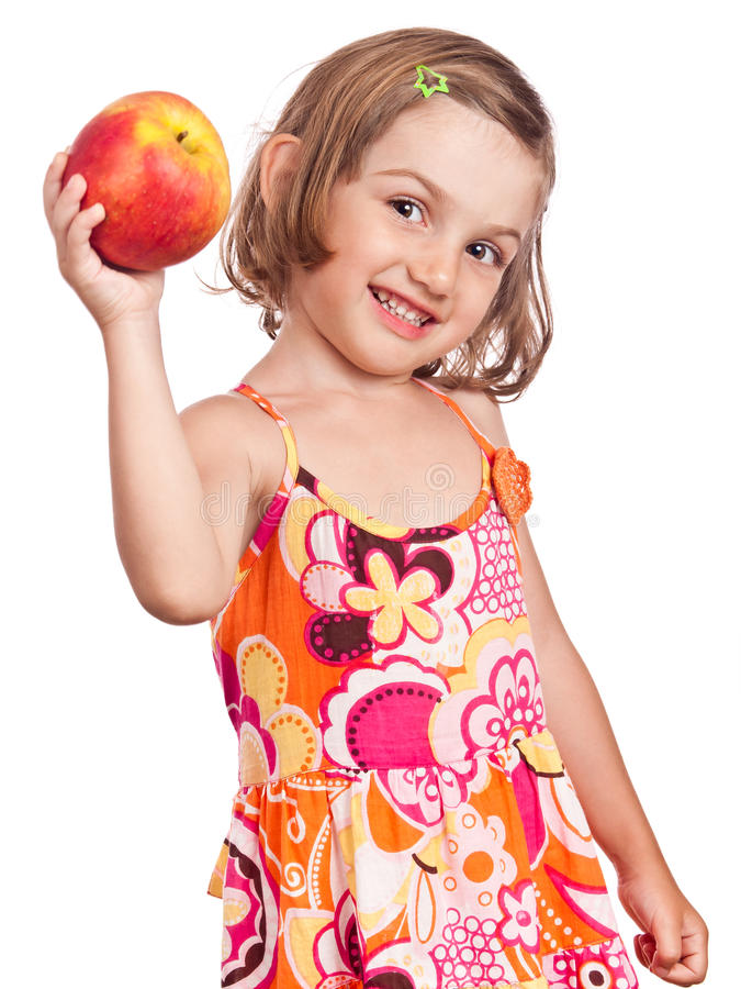 Download Healthy Girl With Big Apple Stock Image - Image: 21639189